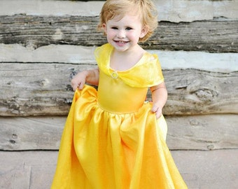 Girls Gold Princess Belle Costume Gown
