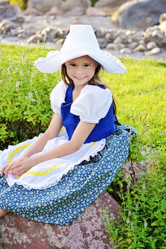 Vintage Style Children's Clothing: Girls, Boys, Baby, Toddler Cute Little Dutch Girl Costume Dress and Hat $65.00 AT vintagedancer.com