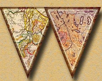 ViNTAGE Antiqued MaPS BaNNER -Pennants, Flags, Bunting- INSTaNT DOWNLoAD- Printable Collage Sheet JPG Digital File