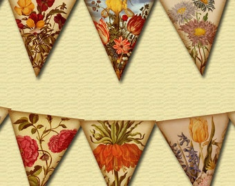 Vintage Shabby Chic Floral Banner -10 Small Pennants/Flags -INSTaNT DOWNLoAD- Printable Collage Sheet  JPG Digital File - NeW LoWER PRiCE