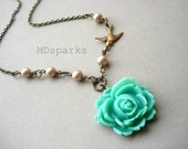 Turquoise Rose Necklace