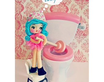 pose doll bathroom print 5 x 7 OH CRAP
