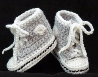 Crocheted Baby Booties choose a size Light Gray and Black High Top Sneaker