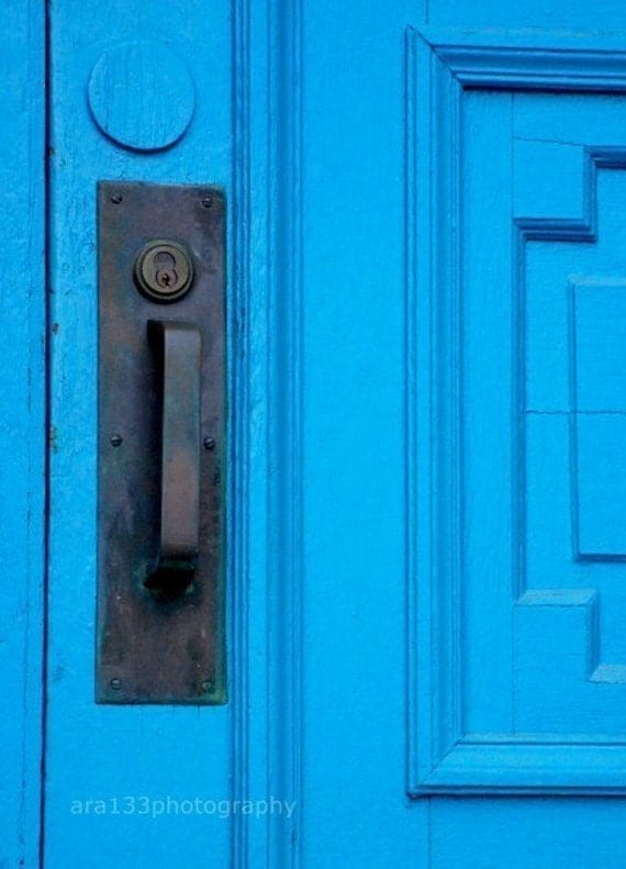 CLEARANCE Door Picture, Blue Photograph, Architecture, Minimalist, Modern Home Decor, Black, Aqua, Travel Picture - 5x7 inch Print -Open Me