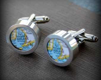 Adelaide Vintage Map Cuff Links - Great Gift