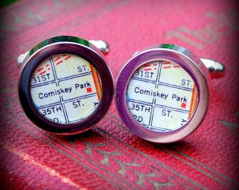 Comiskey Park Map Cuff Links - Great Gift
