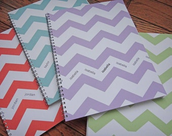 Personalized Chevron Notebook: Silver Spiral Binding, 8 1/2 x 11, 50 sheets, 4 color options