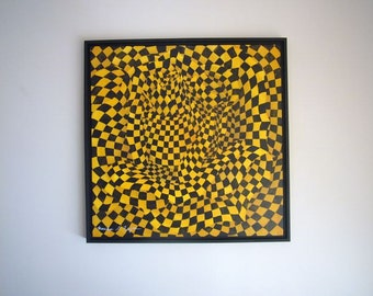 Checkered Taxi Rose Acrylic Painting