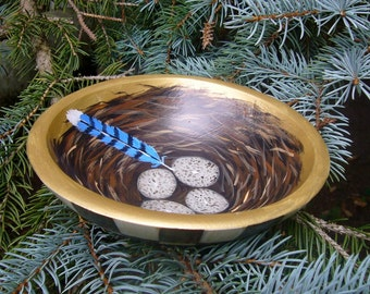Blue Jay Nest Bowl with Black and White Checks