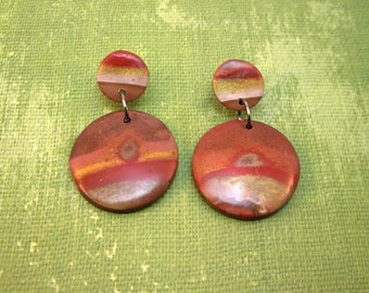 Spots of Jupiter Multi Color Stripe Red Desert Drop Earrings