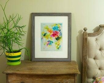 Art Prints, Abstract painting print Fine Art Print , Matted Giclee Print , Wall Art , Wall Décor , Flower Print home decor floral wall art