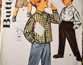 Vintage 1961 Butterick 2122   Boys Pants and Sport Shirt  Size 2 Complete