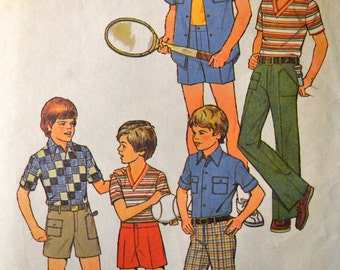 Vintage 70's Simplicity 7513 Mod Boys Pants and Shirt  Size 10 Complete