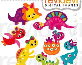 Dinosaur clipart digitals - Clipart Girly Dino - cute dinosaur clip art