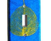 Light Switch Cover Wall Decor Switchplate Switch Plate Gold Leaf on Cobalt Blue