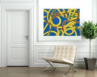 "Traffic knots... original painting, 27.6x19.7"", 70x50 cm, acrylic, canvas, car, train, bus, abstract, fantasy"
