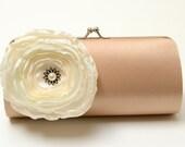 Ivory & Latte Dark Champagne Shabby Chic Bridal Clutch  - Bridesmaid Clutch - Flower Bouquet Clutch - Bouquet Alternative