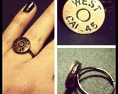 Handmade bronze Smith and Wesson 45 long bullet shell adjustable ring