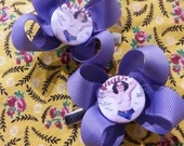 Handmade Purple Ribbon Bow Hair Clips with Vintage 1950's Rockabilly Pin Up Center