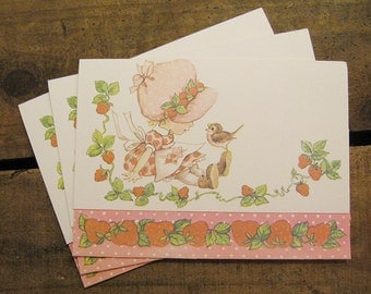 Vintage Strawberries, Little Girl & Bird Postalettes - Set of 3 - Stationery, Writing, Letters