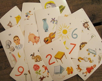 Vintage Phonics Educational Flash Cards - Set of 6 - Letters and Illustrations, Alphabet