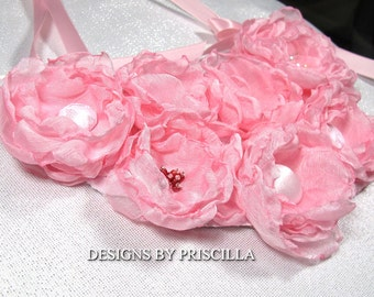 pastel pink jewelry fabric flowers necklace bib necklace statement floral jewelry flower necklace  flower garden bib necklace chiffon roses