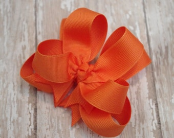 "Girls Hair Bow Orange Double Layered 4"" Boutique Hairbow Orange Hair Bow Halloween Hair Bow Orange Toddler Bow"