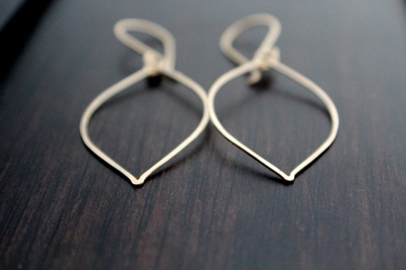 Gold Leaf Earrings - Hoops In 14K Gold Filled, Minimalist Jewelry, Bohemian Fashion