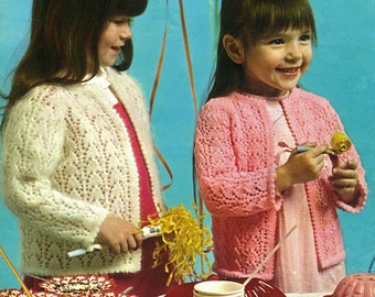 Vintage Girls Cardigan, Knitting Pattern, 1960 (PDF) Pattern, Patons 2186