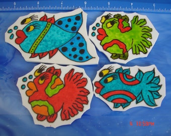Mosaic Tiles DOODLE FISH set 7 Hand painted China Mosaic Tile