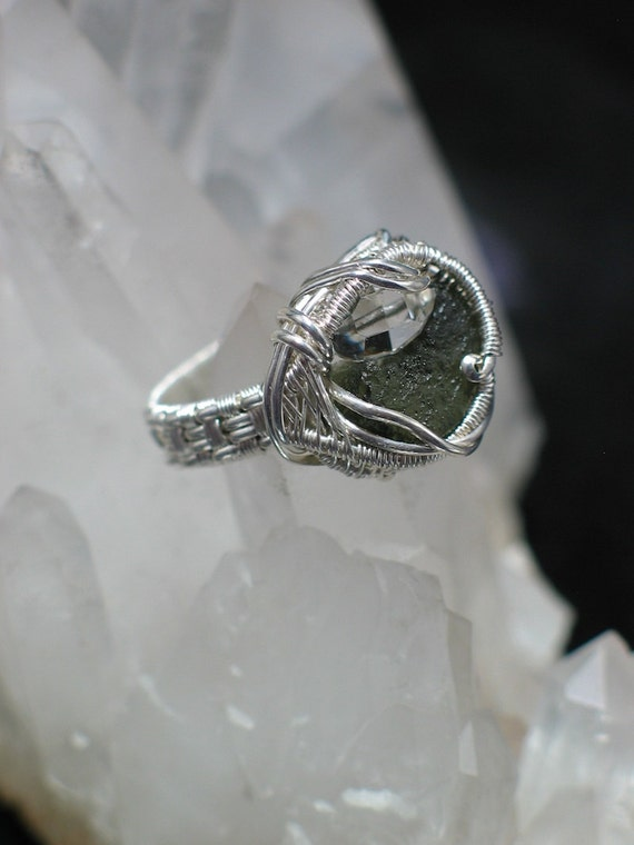 Moldavite and Herkimer Wire Wrap Ring Size 9