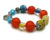 Lay Away for Tammy - (1/5) Orange Blue Chunky Sterling Silver Bracelet / Boho Venetian Bright Beaded Bracelet  / Blue Topaz Inspired