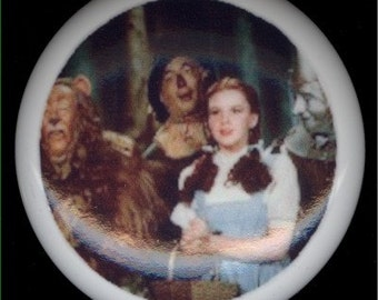 Wizard of Oz DOROTHY Cowardly Lion, SCARECROW and Tin Man Ceramic Drawer Knob Pull