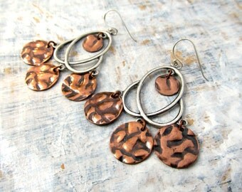 Chandelier earrings Silver Boho earrings copper mixed metal Gypsy earrings Bohemian Jewelry