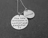 Mother's Day Hand Stamped Jewelry The Love Between A Mother And Daughter Is Forever