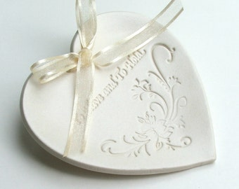 wedding, Ring Pillow, Porcelain wedding ring plate, Ceramic wedding ring holder,  To Have and To Hold,Choice of Round or Heart