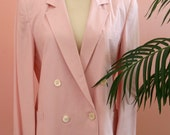 Pink Pastel Double Breasted Pleated Skirt Woman's Suit Size 8 Petite, Pink Suit, Linen Suit, Spring Attire, Work Attire, Easter Suit