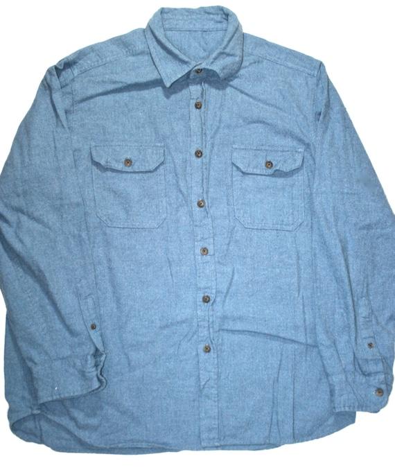 Vintage 80s heavy cotton button up mens shirt for Cotton button up shirt