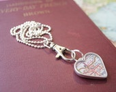 Heart Shaped Map Pendant, You Name the City, Your Hometown, Medium Heart Map Pendant in Copper or Pewter Silver