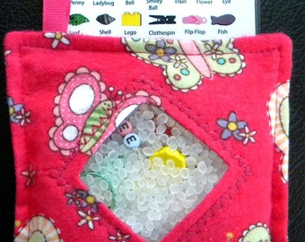 I Spy Bag - Mini with SEWN Word List and Detachable PICTURE LIST- Beautiful Butterflies