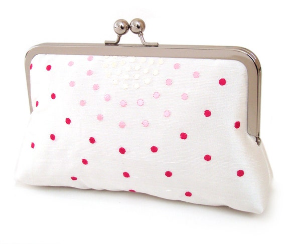 ON SALE: Clutch bag, polkadot white silk purse, bridal clutch, wedding accessory, bridesmaid gift, Candy Dots
