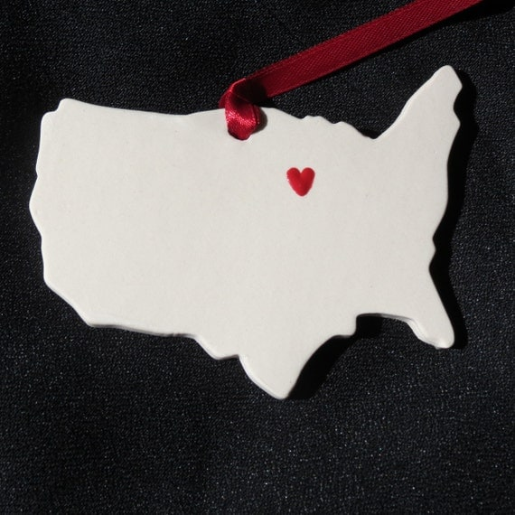 Wedding or Christmas Ornament Gift-Home is wherever you are-USA-Place your hearts anywhere