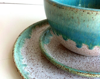 wheel thrown stoneware dinnerware set made to order - Stoneware Dishes