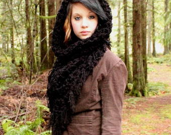 The Fringe Cowl neck scarf hood shawl vegan midnight jet Black