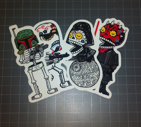 Dark Side Calaveras Vinyl Sticker 4-Pack