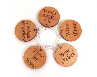 Wooden Wine Charms - Wine Time Set