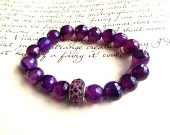 Purple Stretch Bracelet,  Agate Stone Beaded Bracelet, Yoga Bracelet, Gifts