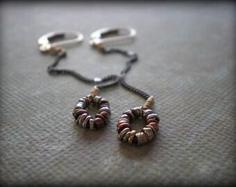 Ring O' Links Oval Drop Earrings - Sexy Earrings - Swingy Earrings - Everyday - New Year's - Christmas