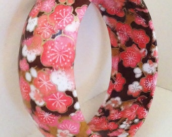 Bold Coral, Brown & White Blossoms Handmade Wood Bangle by cadencedesigns on etsy