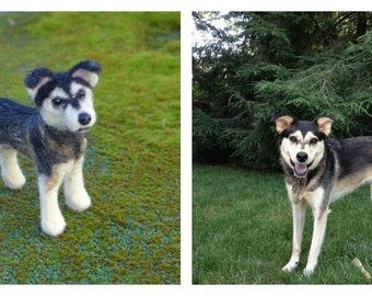 Custom Pet Portrait  / Your DOG in Miniature / Cute / Handmade Poseable Art Sculpture / Mixed breed mutt